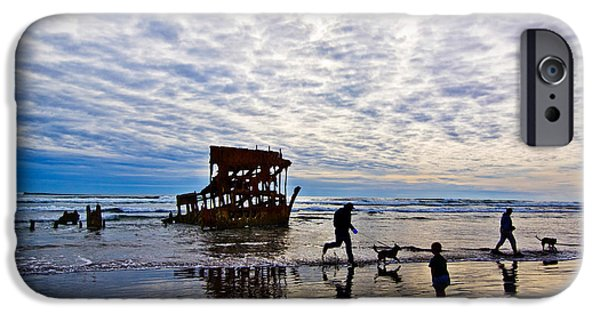 Pet Photography iPhone Cases - Peter Iredale Shipwreck, Fort Stevens iPhone Case by Panoramic Images
