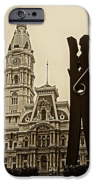 Franklin iPhone Cases - Philadelphia Clothespin 2 iPhone Case by Jack Paolini