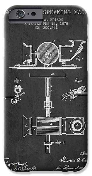 Edison iPhone Cases - Phonograph or speaking machine patent Drawing from 1878 iPhone Case by Aged Pixel