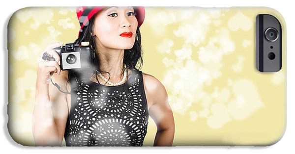 Creative People iPhone Cases - Photographer taking photos with retro film camera iPhone Case by Ryan Jorgensen