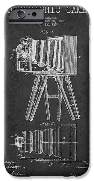 Camera iPhone Cases - Photographic Camera Patent Drawing from 1885 iPhone Case by Aged Pixel