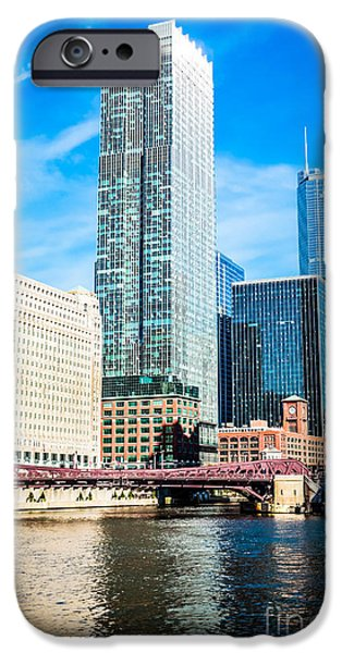 Franklin iPhone Cases - Picture of Chicago River Skyline at Franklin Bridge iPhone Case by Paul Velgos