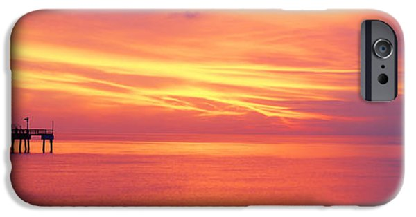 Ocean Sunset iPhone Cases - Pier In The Ocean At Sunset, Caspersen iPhone Case by Panoramic Images
