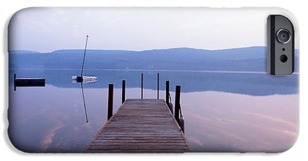 Contemplative Photographs iPhone Cases - Pier, Pleasant Lake, New Hampshire, Usa iPhone Case by Panoramic Images