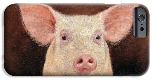 David iPhone Cases - Pig iPhone Case by David Stribbling