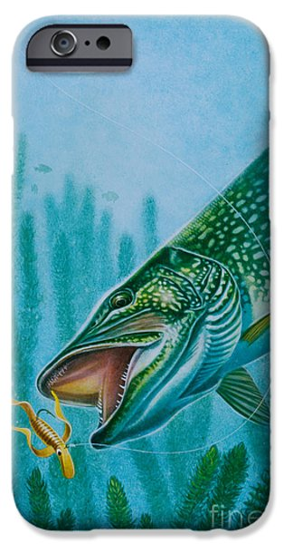 Musky Paintings iPhone Cases - Pike and Jig iPhone Case by Jon Q Wright