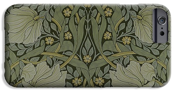 Design Tapestries - Textiles iPhone Cases - Pimpernel wallpaper design iPhone Case by William Morris