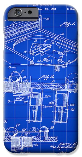 Elton John iPhone Cases - Pinball Machine Patent 1939 - Blue iPhone Case by Stephen Younts