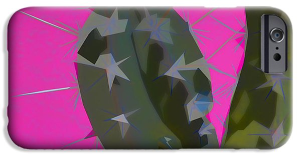 Photomontage iPhone Cases - Pink and Green Cactus Collage iPhone Case by Carol Leigh