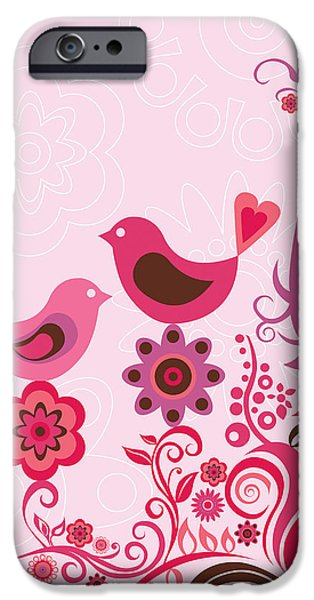 Floral Digital Art Digital Art iPhone Cases - Pink Birds And Ornaments iPhone Case by Valentina Ramos