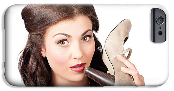 1940s Portraits iPhone Cases - Pinup vintage woman chatting on shoe phone iPhone Case by Ryan Jorgensen