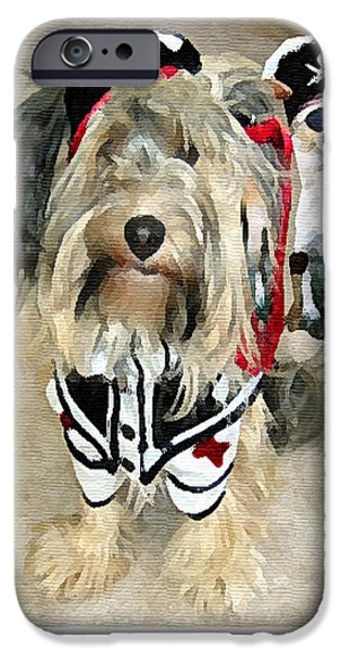 Funny Dog Digital Art iPhone Cases - Pirate Dogs iPhone Case by Jane Schnetlage