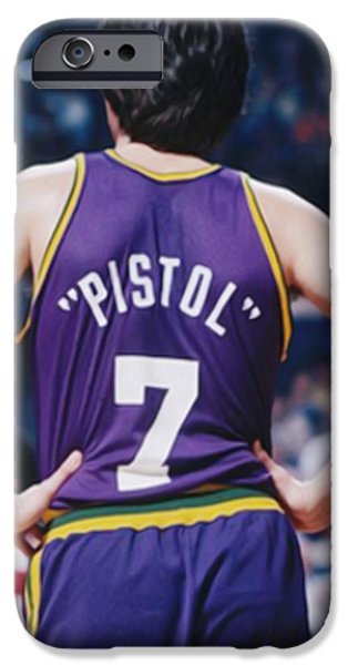 Pistol Pete Maravich iPhone Case by Paint Splat
