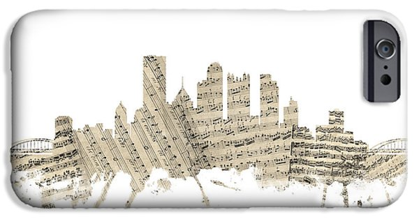 Sheets iPhone Cases - Pittsburgh Pennsylvania Skyline Sheet Music Cityscape iPhone Case by Michael Tompsett