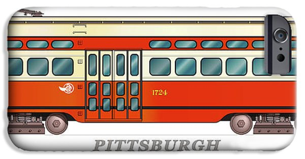 Pcc iPhone Cases - Pittsburgh Railways PCC Trolley circa 1949 iPhone Case by Carlos F Peterson
