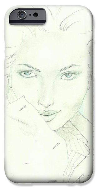 Beautiful Faces iPhone Cases - PJs art iPhone Case by P J Lewis