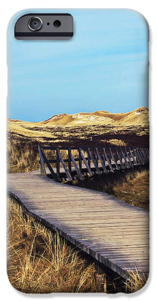 North Sea iPhone Cases - Plank walkway iPhone Case by Angela Doelling AD DESIGN Photo and PhotoArt