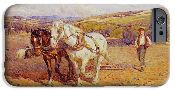 Plow iPhone Cases - Ploughing iPhone Case by Joseph Harold Swanwick