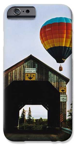 Hot Air Balloon iPhone Cases - Plumweseep Covered Bridge Hot Air Balloon iPhone Case by Jamie Roach