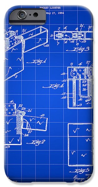 Hookah iPhone Cases - Pocket Lighter Patent 1934 - Blue iPhone Case by Stephen Younts