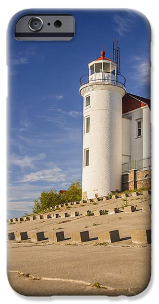 Chicago iPhone Cases - Point Betsie Lighthouse Michigan iPhone Case by Adam Romanowicz