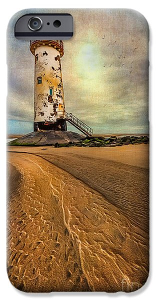 Lantern Digital Art iPhone Cases - Point of Ayre Lighthouse iPhone Case by Adrian Evans