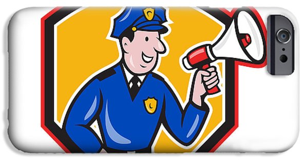 Police Officer iPhone Cases - Policeman Shouting Bullhorn Shield Cartoon iPhone Case by Aloysius Patrimonio