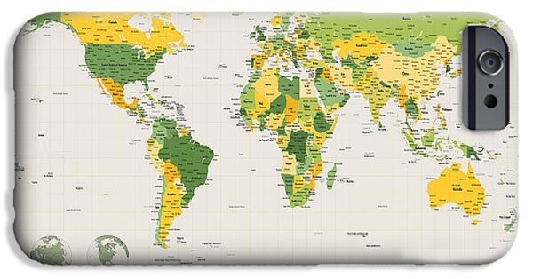 World Digital Art iPhone Cases - Political Map of the World iPhone Case by Michael Tompsett