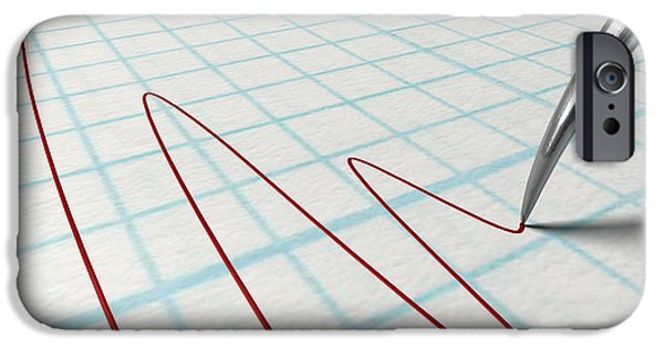 Sheets iPhone Cases - Polygraph Needle And Drawing iPhone Case by Allan Swart