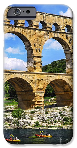 Kayak iPhone Cases - Pont du Gard in southern France iPhone Case by Elena Elisseeva