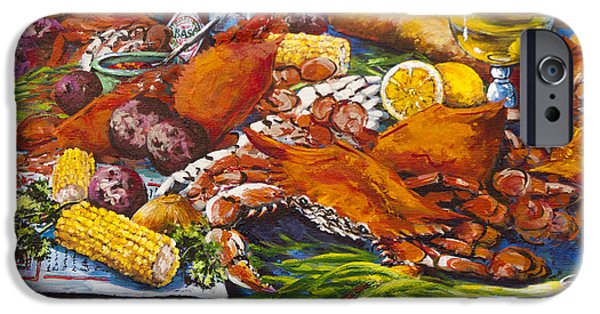 French Quarter Paintings iPhone Cases - Pontchartrain Crabs iPhone Case by Dianne Parks