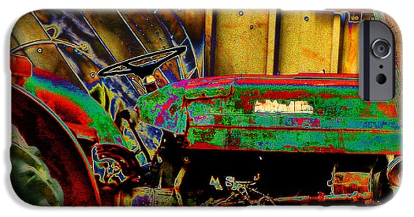 Cardboard Mixed Media iPhone Cases - Pop Art Tractor iPhone Case by Michael Braham