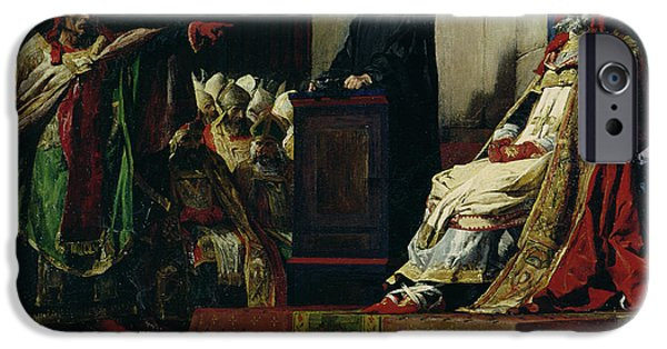 Macabre iPhone Cases - Pope Formosus and Pope Stephen VI iPhone Case by Jean Paul Laurens