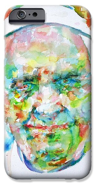 Pope iPhone Cases - POPE FRANCIS - watercolor portrait iPhone Case by Fabrizio Cassetta
