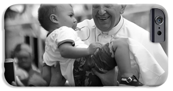Pope iPhone Cases - Pope Francis with a Child iPhone Case by Mountain Dreams