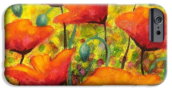 Decorative Art iPhone Cases - Poppy Corner iPhone Case by John  Nolan