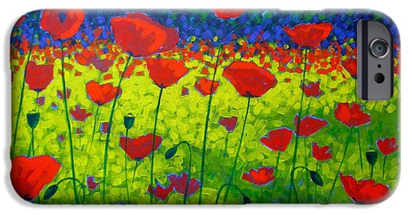 Flower Art Prints iPhone Cases - Poppy Field iPhone Case by John  Nolan