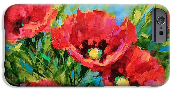 Sunflower Paintings iPhone Cases - Poppy Tango iPhone Case by Nancy Medina