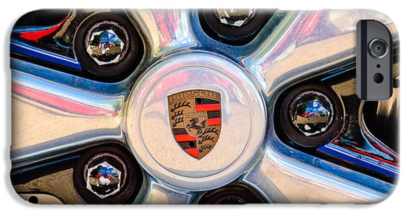 Sports Cars Images iPhone Cases - Porsche Wheel Rim Emblem iPhone Case by Jill Reger