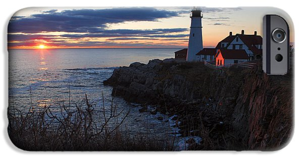 Maine iPhone Cases - Portland Head Light at Dawn iPhone Case by Diane Diederich