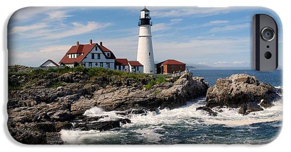 Rocky Maine Coast iPhone Cases - Portland Head Lighthouse iPhone Case by Nomad Art And  Design