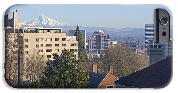 Winter Scene iPhone Cases - Portland Oregon downtown skyline panorama. iPhone Case by Gino Rigucci