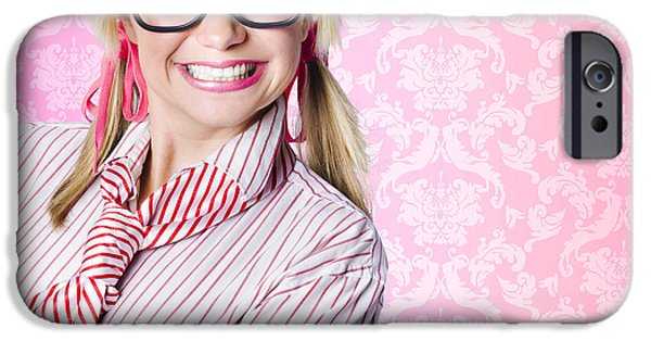 Youthful iPhone Cases - Portrait of a nerd businesswoman with funny smile iPhone Case by Ryan Jorgensen