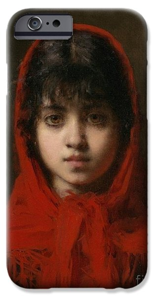 Orthodox Paintings iPhone Cases - Portrait of a Young Girl iPhone Case by Celestial Images