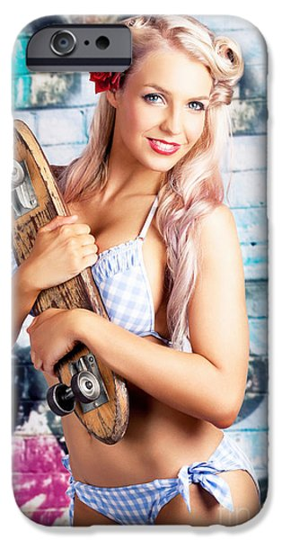 60s Photographs iPhone Cases - Portrait Of A Young Grunge Woman On Graffiti Wall iPhone Case by Ryan Jorgensen
