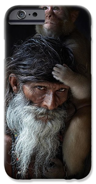 Accomplice iPhone Cases - Portrait of sadhu iPhone Case by Gilles Lougassi