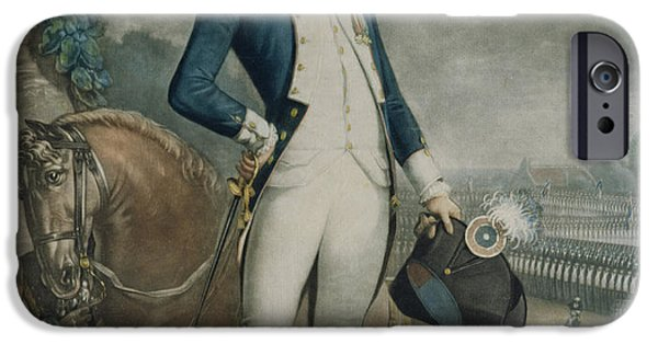Black Portrait Drawings iPhone Cases - Portrait of the Marquis de La Fayette iPhone Case by Philibert-Louis Debucourt