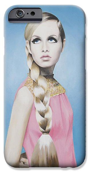 Portrait of Twiggy iPhone Case by Moe Notsu