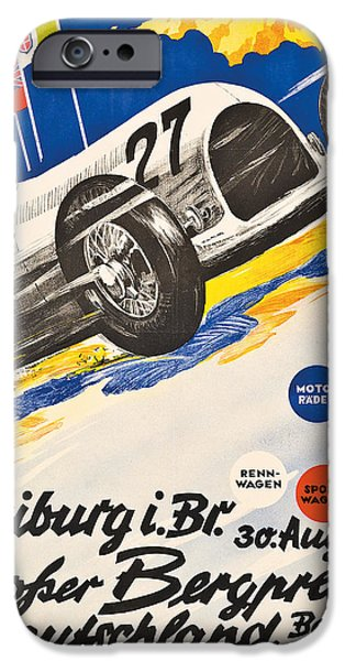 Transportation Drawings iPhone Cases - Poster advertising the Grosser Bergpreis Grand Prix iPhone Case by German School
