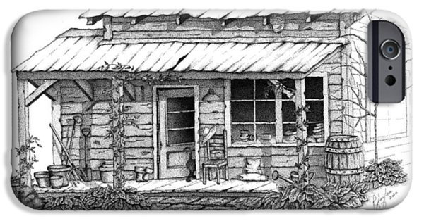 Shed Drawings iPhone Cases - Potting Shed iPhone Case by Linda Pfeifer
